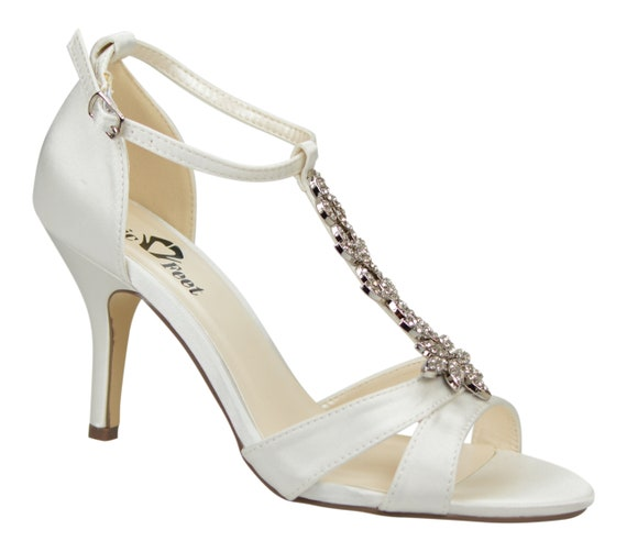 Ivory Satin Vintage Inspired Diamante Embellishment T Bar Wedding Bridal Peep Mid Heel Sandals Shoes