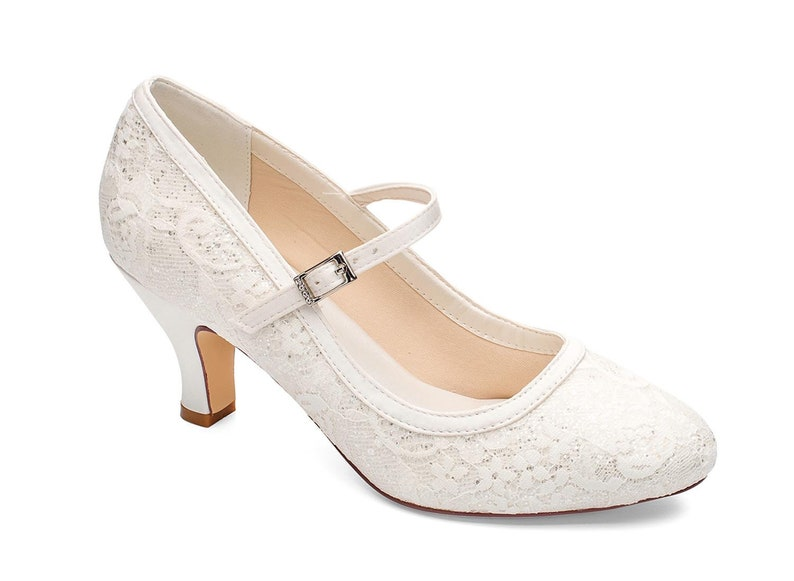 467f184055e Ivory shimmering Glitter Satin & Lace Overlay Sparkling Mary Jane Wedding  Bridal Low Heel Shoes
