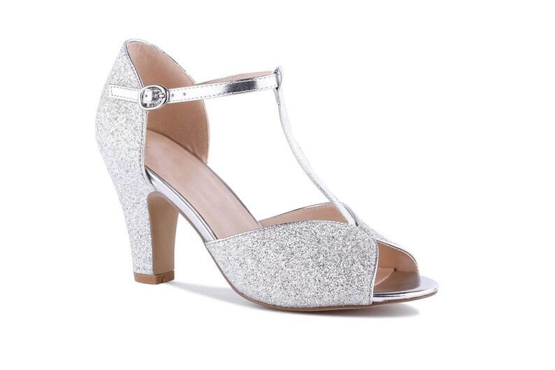 Silver Glitter Vintage Inspired T Bar Wedding Bridal Peep Toe Mid Block Heel Sandals Shoes