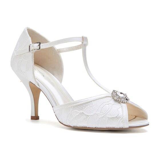 Satin Vintage Inspired Diamante T Bar Wedding Bridal Peep Toe Low Heel Diamante Sandals Shoes