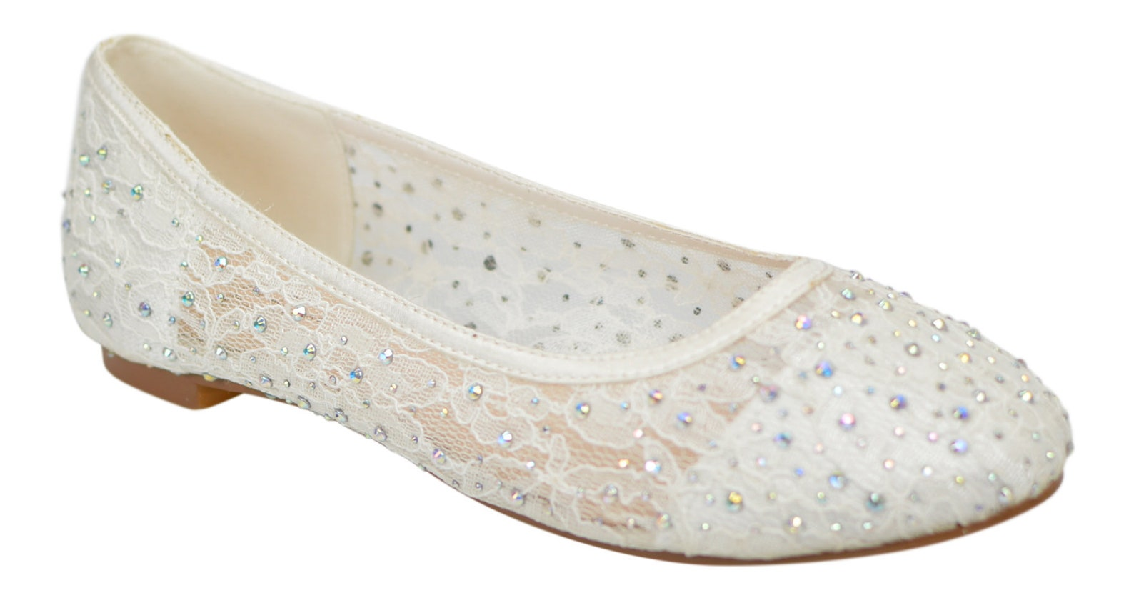 women's ivory lace with gem detail ballerina flat wedding bridal ballet shoes