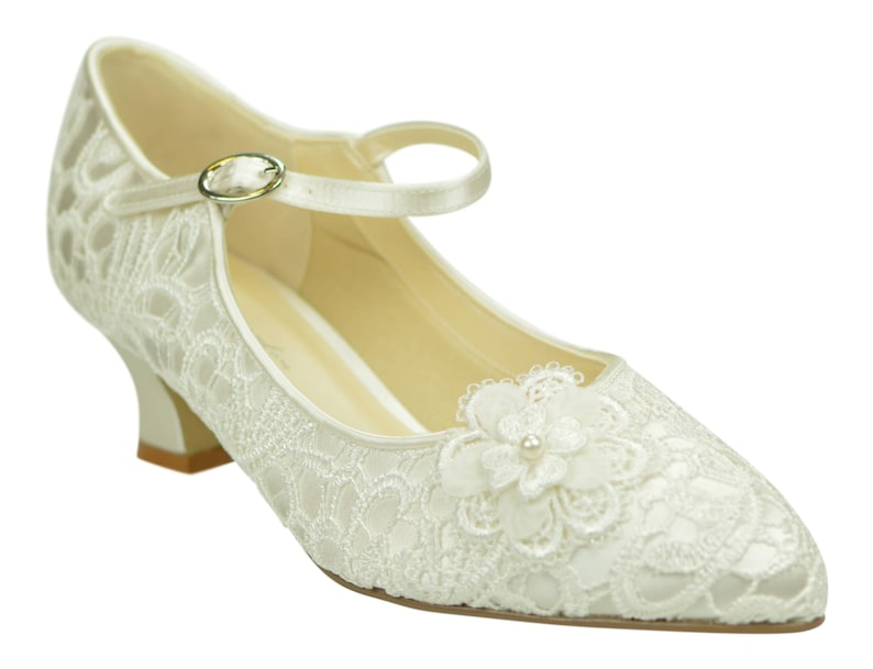 99118374417 Low Heel Ivory Lace Vintage Inspired Mary Jane Wedding Bridal Shoes