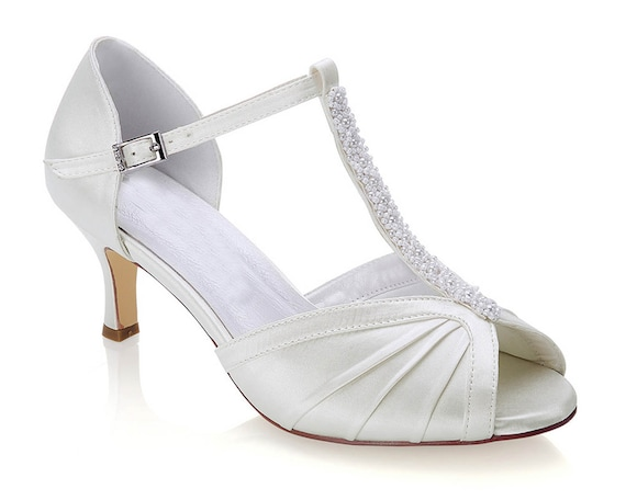 Ivory Satin & Pearl T Bar Wedding Bridal Peep Toe Low Heel Sandals Shoes