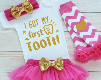 My 1st Tooth Bodysuit, Custom Girl Shirt, Baby Girl Clothes, My First Tooth, Baby Girl First Tooth Outfit, Tooth Fairy, My First Tooth Girl