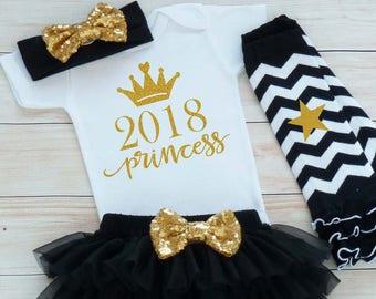 Girls First New Years Shirt, Baby Girl New Year Outfit, My First New Years, Baby Girl New Year Bodysuit, Custom Baby Girl New Year Outfit