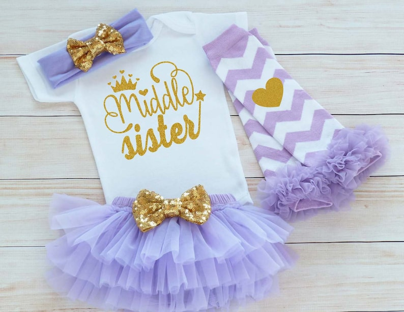 Take Home Baby Girl Outfit Middle Sister Bodysuit Baby Outfit Middle Sister Shirt Baby Shower Gift Baby Sister Outfit Baby Girl Gift