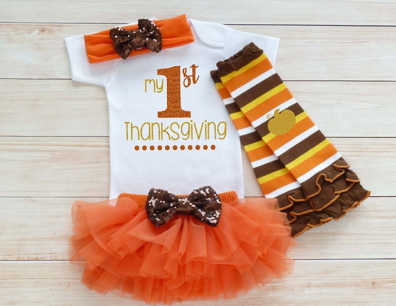 My First Thanksgiving Baby Girl Thanksgiving Outfit Baby image 0