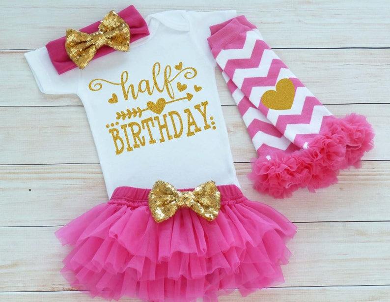 Baby Girl Half Birthday Bodysuit 6 Month