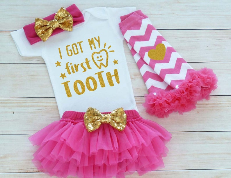 My 1st Tooth Bodysuit Custom Girl Shirt Baby Girl Clothes image 0