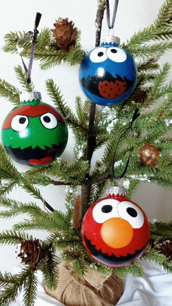 image 0 - Sesame Street Hand Painted Ornaments Set Of 3 Elmo Cookie Etsy