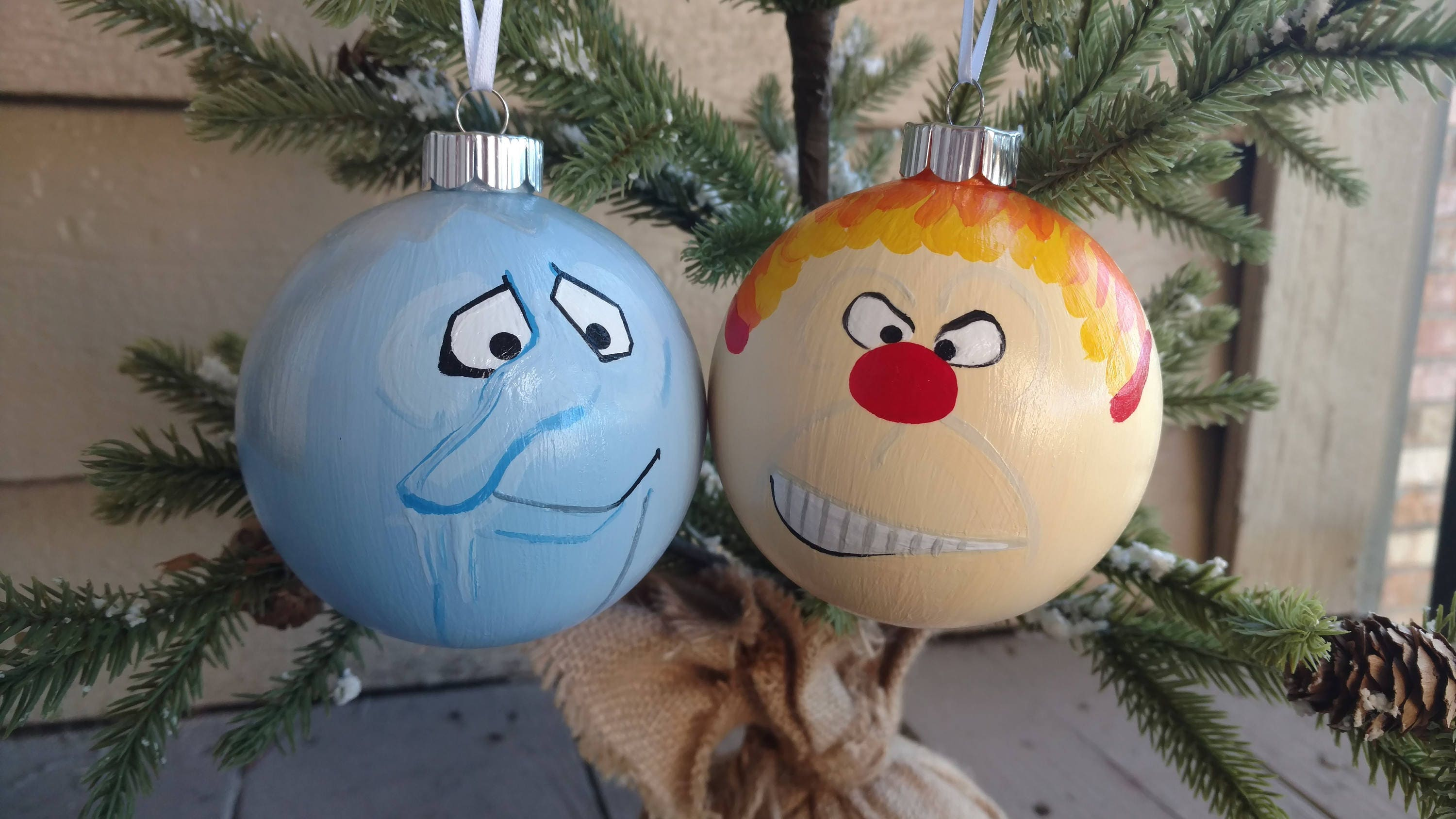 Snow Miser and Heat Miser OrnamentsThe Year without a Santa   Etsy