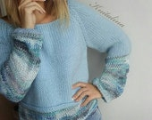 Striped sweater.Wool Chunky sweater.Blue knit womens sweater.Loose sweater.Oversized sweater.Knitted sweater on one shoulder.Warm pullover