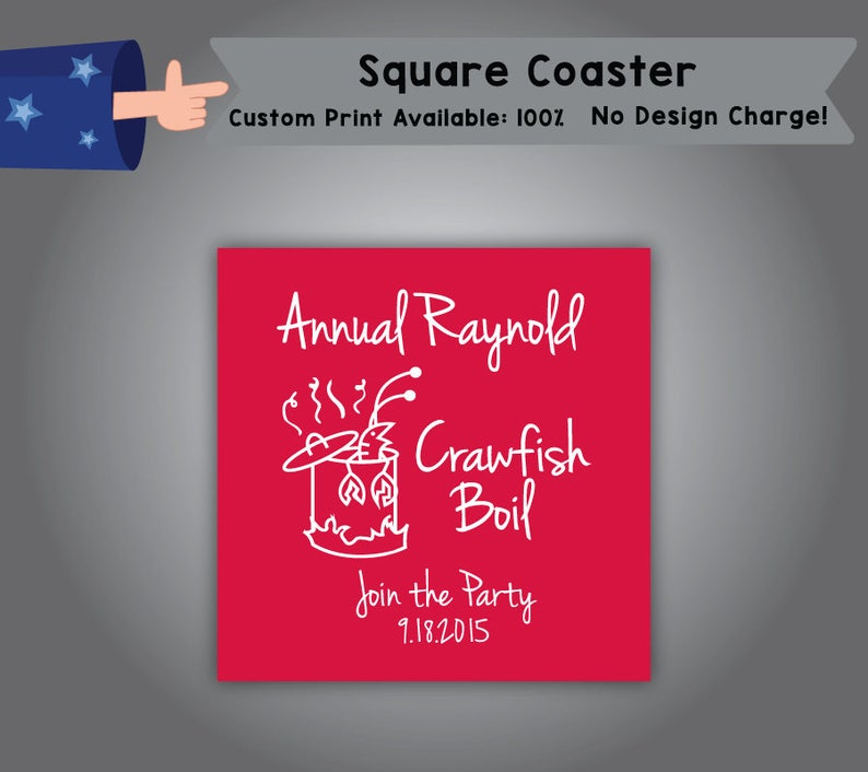Annual CrawFish Boil Join the Party Square Coaster Father/'s day Single Side Print C-Crawfish01