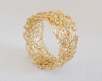 Man ring gold ring Mr ring man gift gold filled ring gold-plated ring knitted gold ring men's jewellery