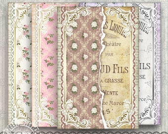 French Ephemera, 4x6 Printable Paper, 4x6 Digital Paper,Scrapbook Paper, Printable Collage Sheet, Vintage Background