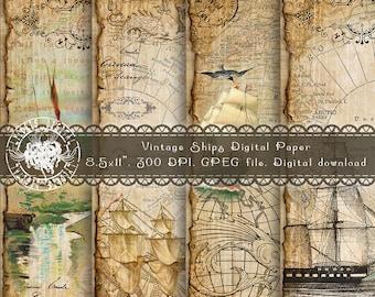 Nautical Digital Paper, Sea Digital Paper, Ship Digital Paper, Vintage Digital Paper, Scrapbooking Ephemera, Map Digital Paper