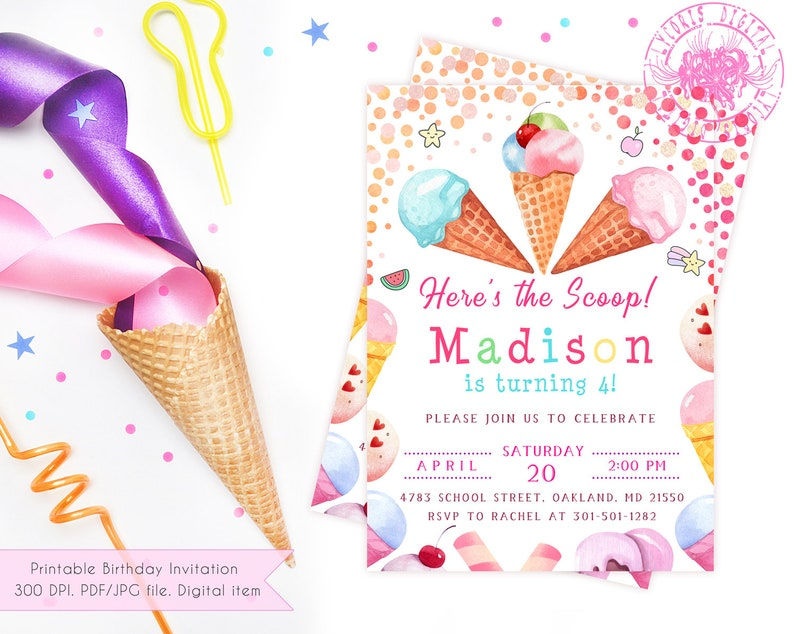 photo relating to Ice Cream Party Invitations Printable Free named Printable Ice Product Social gathering Invitation Woman, Female Ice Product Birthday Invitation, Ice Product Social gathering Invite, Watercolor Icecream Birthday Invite