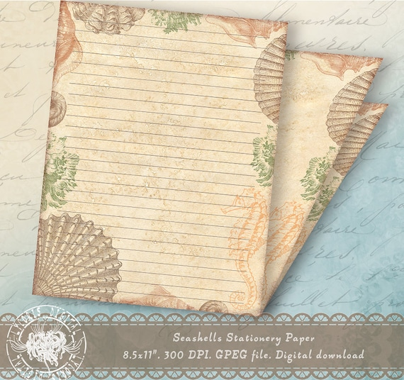 printable lined stationery printable journal pages nautical etsy