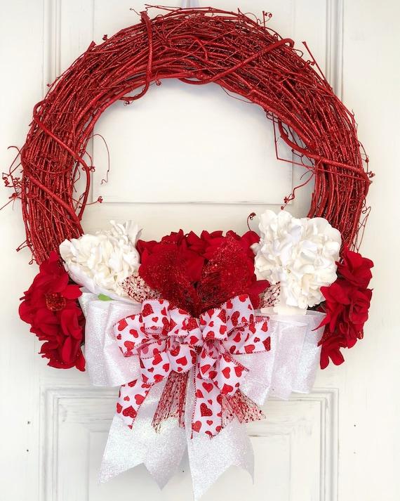 Red Wreath For Front Door Valentine S Day Door Wreath Etsy
