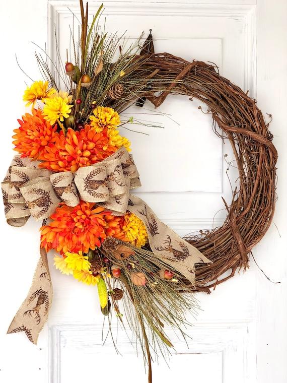 Autumn Wreath Stag Head Decor Harvest Wreath Thanksgiving Wreaths For Front Door Fall Wreath Ideas Monogram Fall Grapevine Wreath
