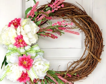 Spring Wreath for Front Door Summer Wreath Housewarming Gift Spring Decor Easter Decor Mothers Day Gift Easter Wreath Floral Wreath