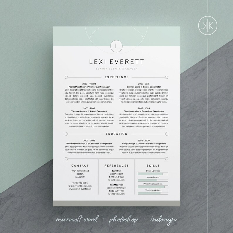 Lexi Resume CV Template Word Photoshop InDesign