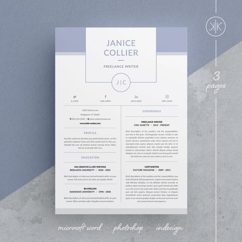 Janice Resume Cv Template Word Photoshop Indesign Etsy