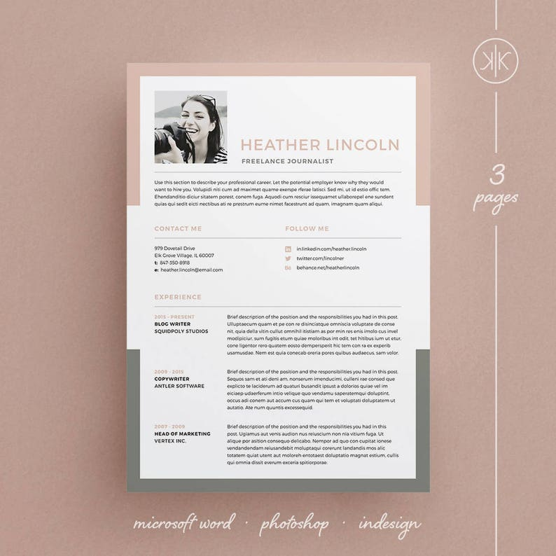 Heather Resume CV Template Word Photoshop InDesign