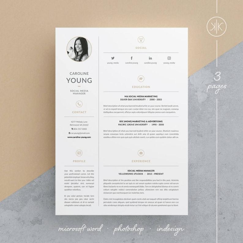 Caroline Resume CV Template Word Photoshop InDesign