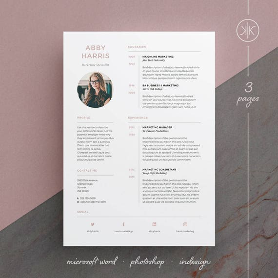Abby Resumecv Template Word Photoshop Indesign Professional Resume Design Cover Letter Instant Download