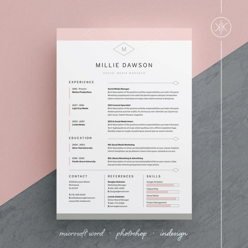 Millie Resume CV Template Word Photoshop InDesign