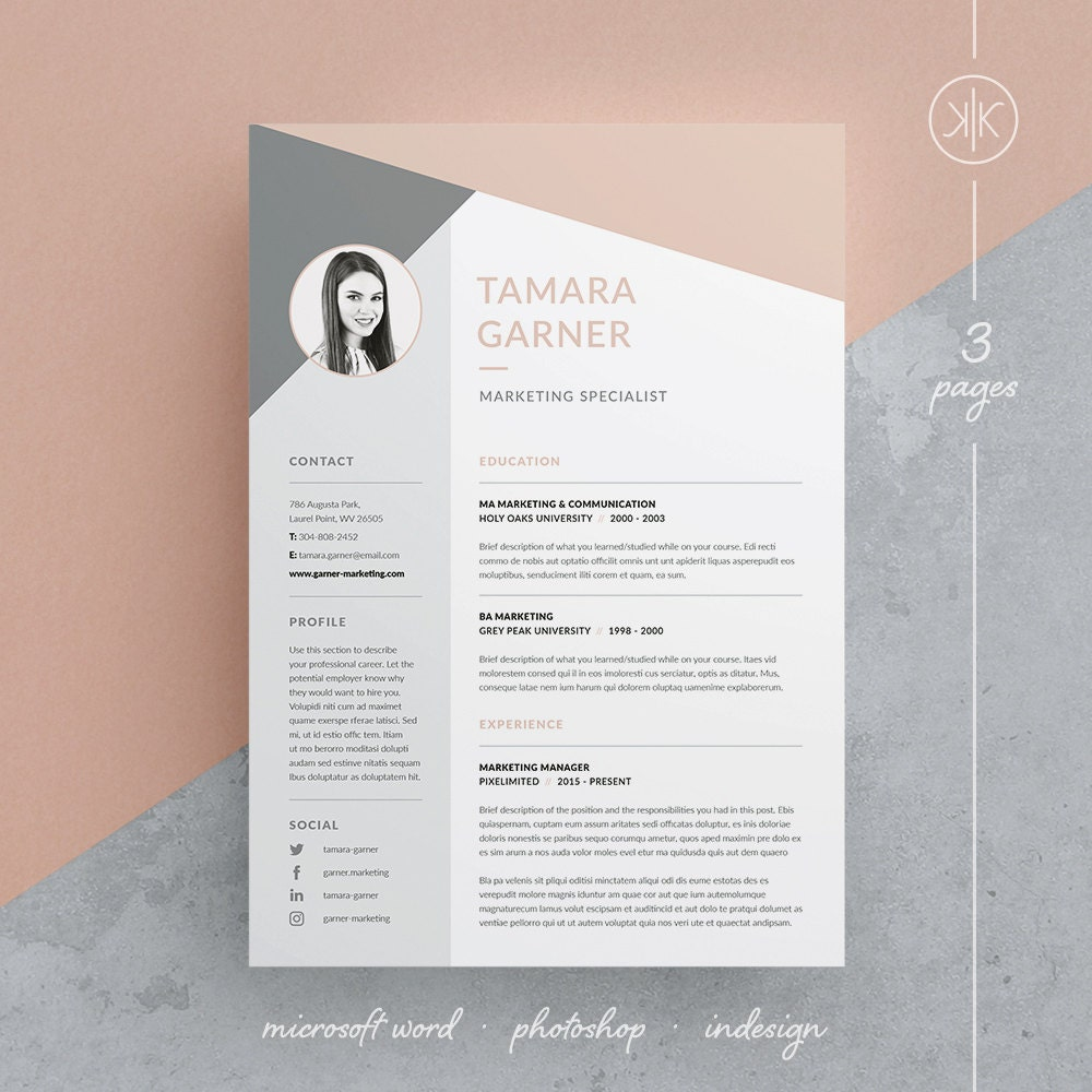 Tamara Resume/CV Template Word Photoshop InDesign | Etsy