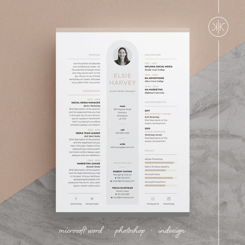 Elsie Resume CV Template Word Photoshop InDesign