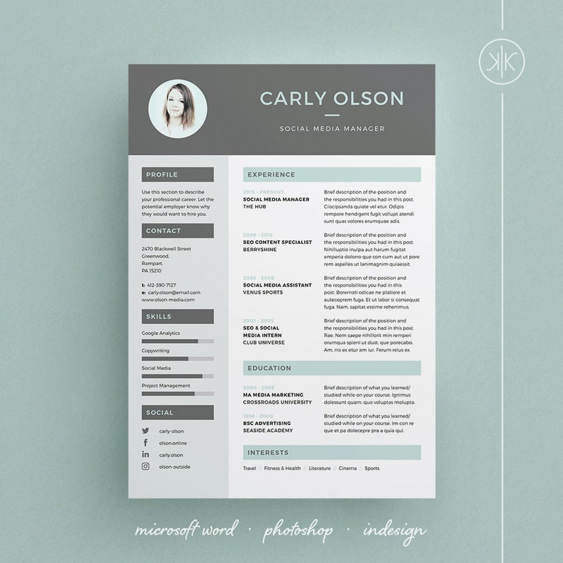 Carly Resumecv Template Word Photoshop Indesign Etsy