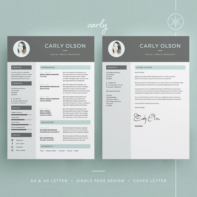 Carly ResumeCV Template Photoshop Cover Letter Instant Download Word Professional Resume Design InDesign