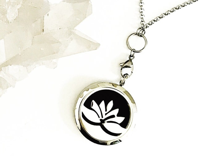 Featured listing image: Aromatherapy Necklace, Essential Oil Necklace, Essential Oil Diffuser Necklace, Scent Locket Scent Diffuser, Healing Necklace  'Lotus'