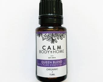 QUEEN Organic Pure Essential Oil blend with rosemary, clary sage, lavender, cedarwood, frankincense, peppermint and ylang ylang