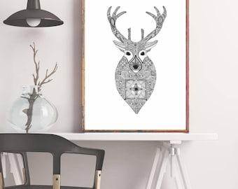 Design original, cerf encre Mandala Art Print