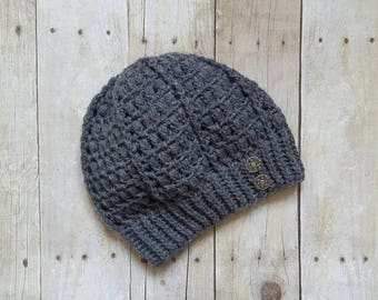 Slouchy Beret Hat with buttons, grey, metal buttons