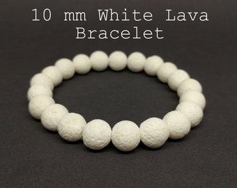 Diffuser Bracelet 10mm  Lava Bead Bracelet Essential Oil Diffuser Bracelet White Bracelet Lava Beads Bracelet Lava Bracelet Lava Jewelry