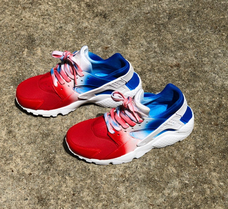 a322077d1ecc Red White and Blue Nike Huarache Custom Unisex