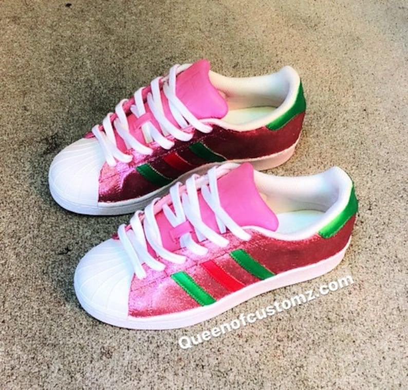 sélection premium 894b8 a7792 Paillettes rose Adidas Superstar douane