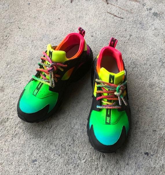 d19ad2f8b3a88 Premium Black Rainbow Nike Hurache Customs
