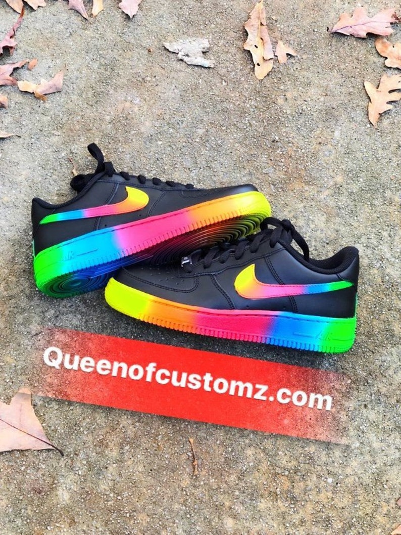 Black Rainbow Custom Painted Nike Low Air Force 1