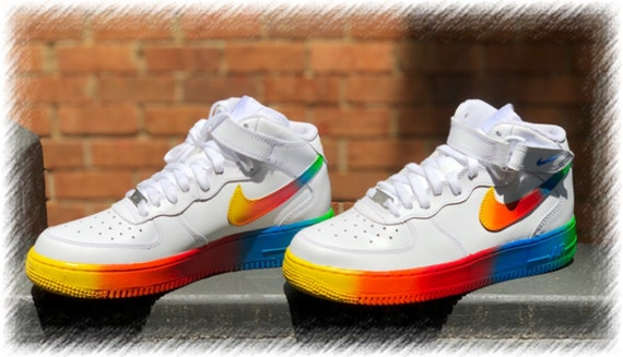 Rainbow Custom Nike Mid Air Force One's