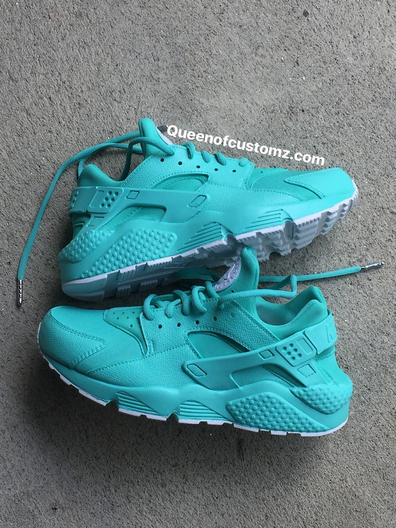 d8f93c28f8ef0 Teal blue and white Nike huarache custom