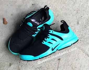 Turquoise  and Black Nike Presto Custom
