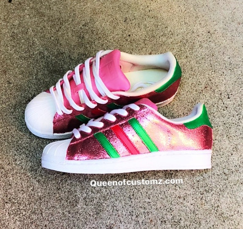 433174bafd9f Pink Glitter Adidas Superstar Customs