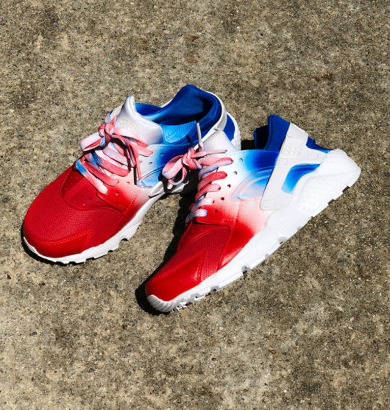 detailed look 6de46 26141 Red, White, and Blue Nike Huarache Custom Unisex