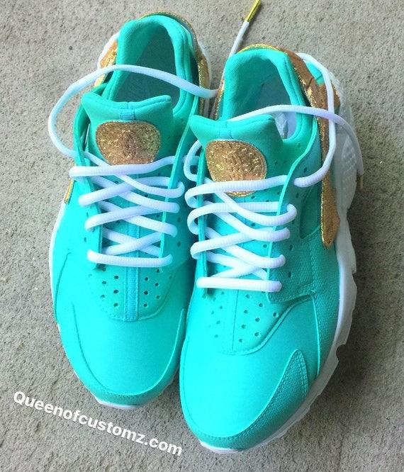 watch 76e84 a68ad Gold N Turquoise Nike Huarache Custom Unisex   Etsy